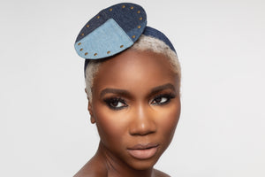 Denim Patch Fascinator Headband