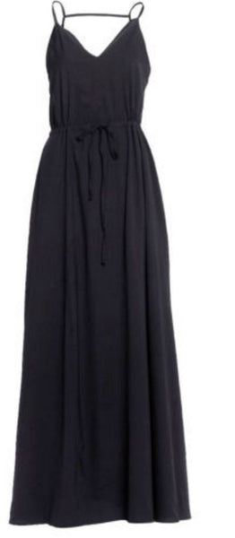 Black Satin Long Dress - Anladia - 8