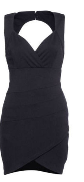 Black V Neck Dress - Anladia - 7