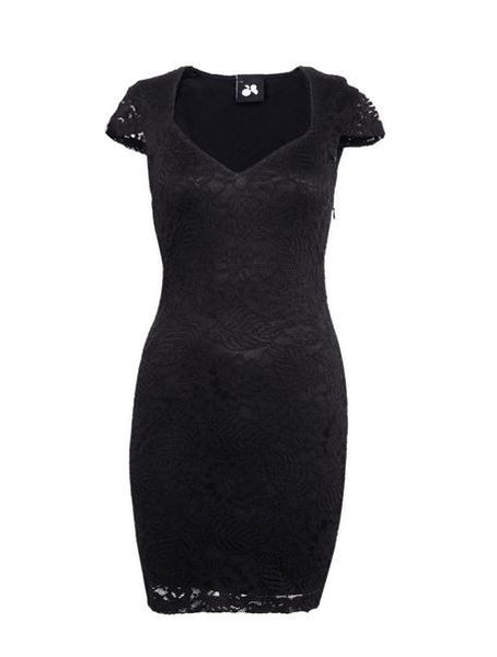 Black Commander Capped Sleeve Dress - Anladia - 8