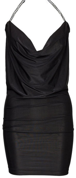 Black Draped Front Dress - Anladia - 7