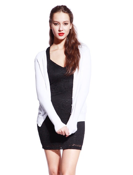 White Knitted Cardigan - Anladia - 1