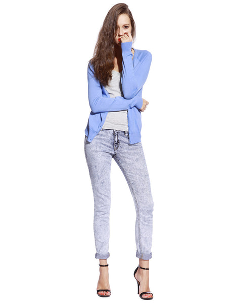 Blue Knitted Cardigan - Anladia - 2