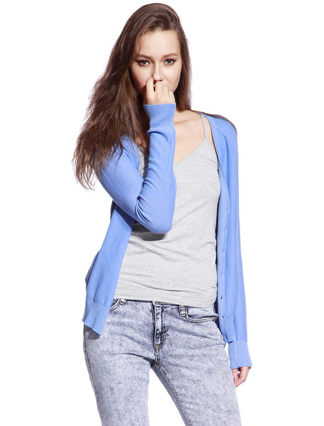 Blue Knitted Cardigan - Anladia - 1