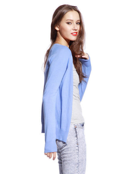 Blue Knitted Cardigan - Anladia - 3