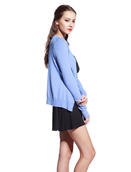 Blue Knitted Cardigan - Anladia - 6