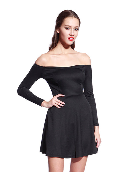 Offshoulder Black Skater Dress - Anladia - 1