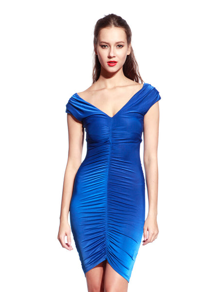 Blue Front Drape Dress - Anladia - 1