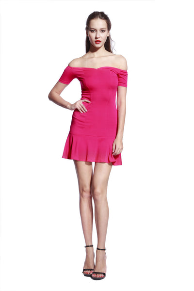 Rose Low Frill Jersey Dress - Anladia - 3