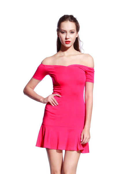 Rose Low Frill Jersey Dress - Anladia - 1
