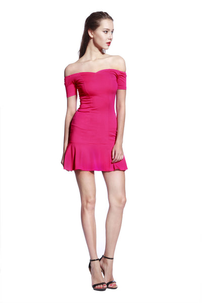 Rose Low Frill Jersey Dress - Anladia - 4