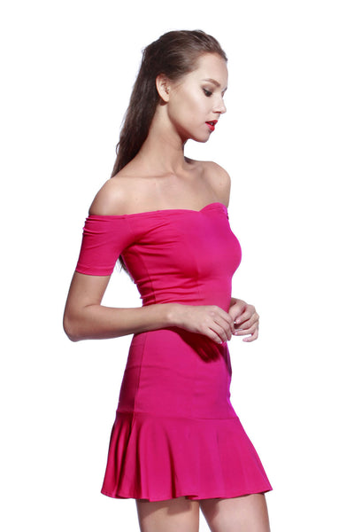 Rose Low Frill Jersey Dress - Anladia - 2