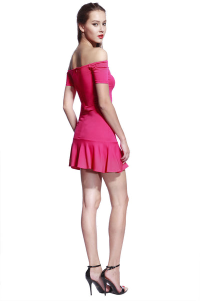 Rose Low Frill Jersey Dress - Anladia - 6