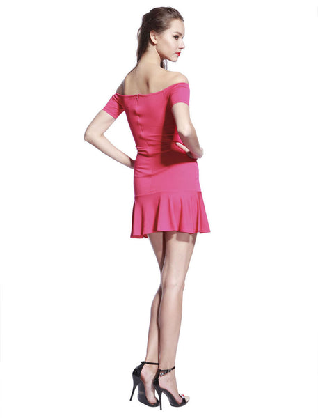 Rose Low Frill Jersey Dress - Anladia - 7