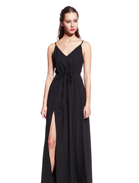Black Satin Long Dress - Anladia - 1