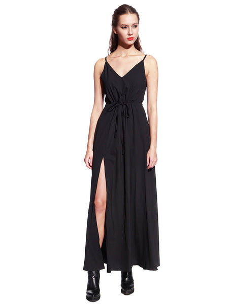 Black Satin Long Dress - Anladia - 2