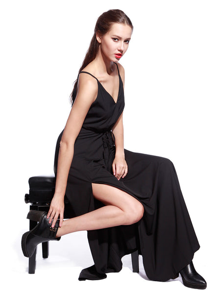 Black Satin Long Dress - Anladia - 3