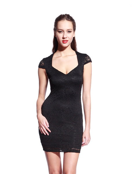 Black Commander Capped Sleeve Dress - Anladia - 1