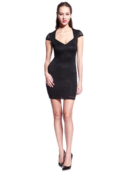 Black Commander Capped Sleeve Dress - Anladia - 4