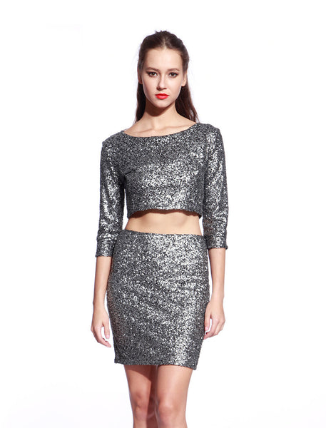 Matt Silver Sequin Dress - Anladia - 1