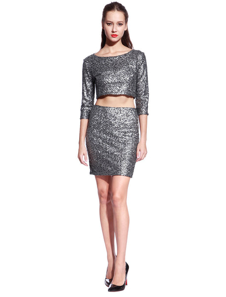 Matt Silver Sequin Dress - Anladia - 5