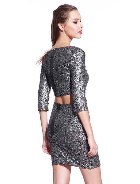 Matt Silver Sequin Dress - Anladia - 4