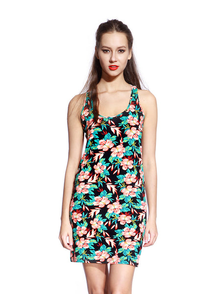 Green & Black Floral Dress - Anladia - 1