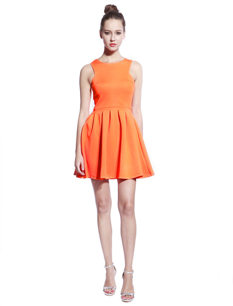 Orange Scuba T-neck Dress - Anladia - 4