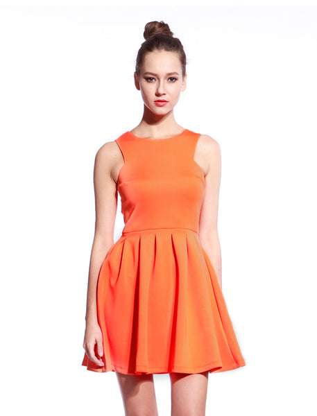 Orange Scuba T-neck Dress - Anladia - 1