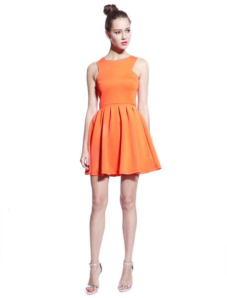 Orange Scuba T-neck Dress - Anladia - 5