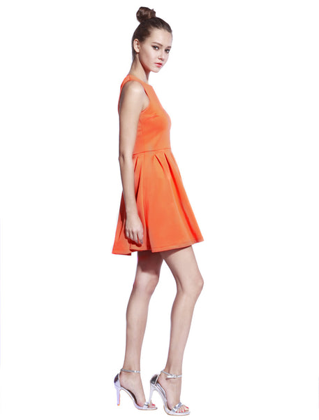 Orange Scuba T-neck Dress - Anladia - 6
