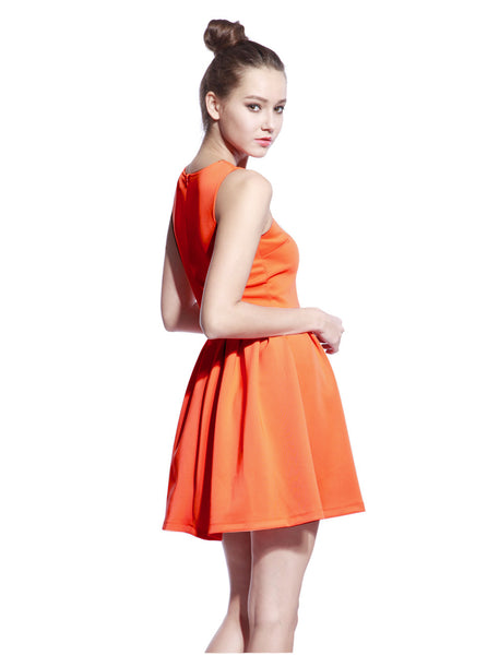 Orange Scuba T-neck Dress - Anladia - 2