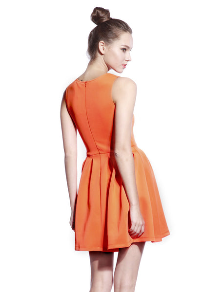 Orange Scuba T-neck Dress - Anladia - 3
