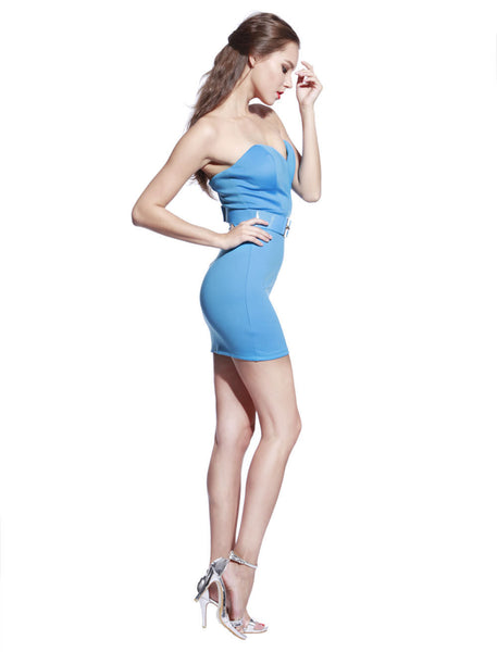 Blue Belted Bodycon Dress - Anladia - 4