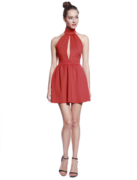 High Neck Red Skater Dress - Anladia - 3