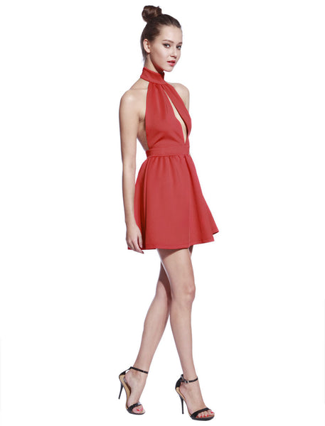 High Neck Red Skater Dress - Anladia - 7