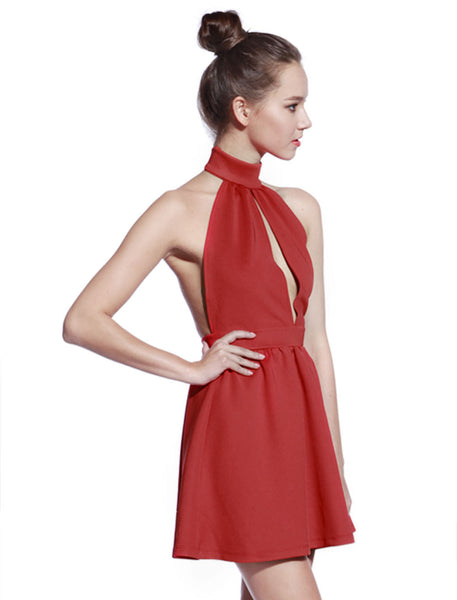 High Neck Red Skater Dress - Anladia - 2