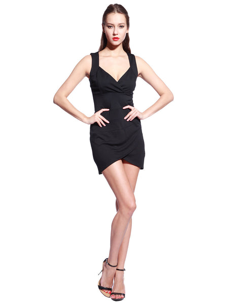 Black V Neck Dress - Anladia - 5