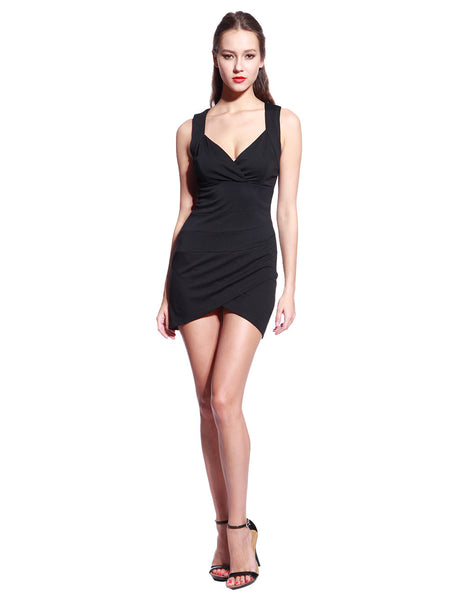 Black V Neck Dress - Anladia - 4