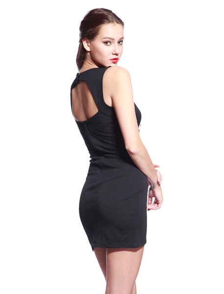 Black V Neck Dress - Anladia - 2
