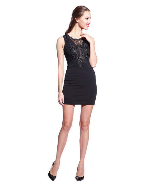 Black Deep Crochet Dress - Anladia - 6