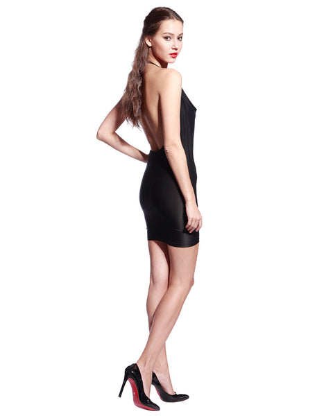Black Draped Front Dress - Anladia - 6