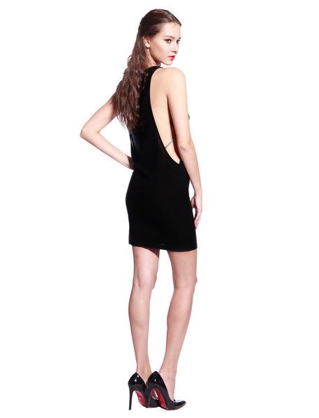 Black Chain Bodycon Dress - Anladia - 8