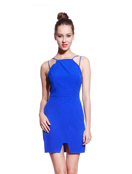 Blue Thin Strap Dress - Anladia - 1