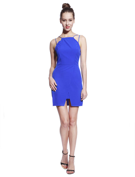 Blue Thin Strap Dress - Anladia - 7