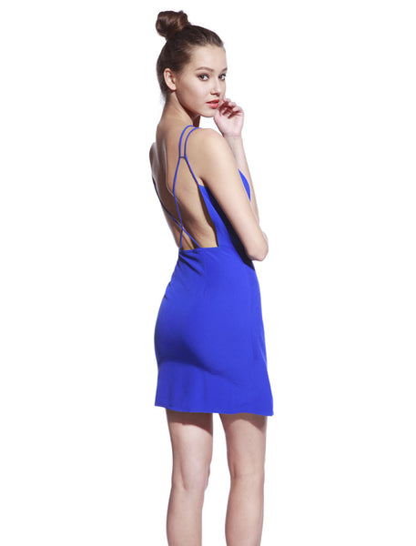 Blue Thin Strap Dress - Anladia - 4
