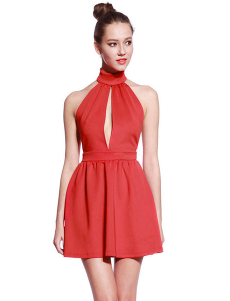 High Neck Red Skater Dress - Anladia - 1