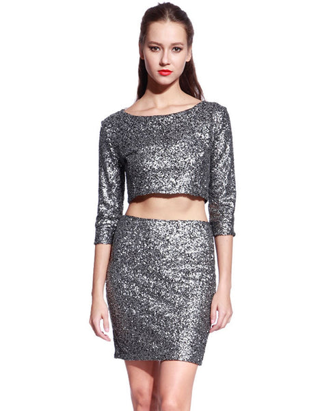 Matt Silver Sequin Dress - Anladia - 2