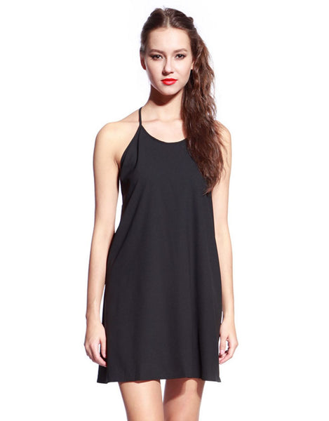 Black Half Back A-Line Dress - Anladia - 1