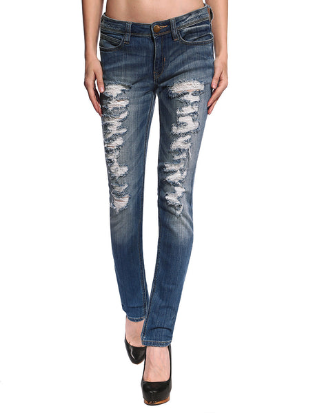 Gemma Distressed & Ripped Skinny Jeans - Anladia - 1